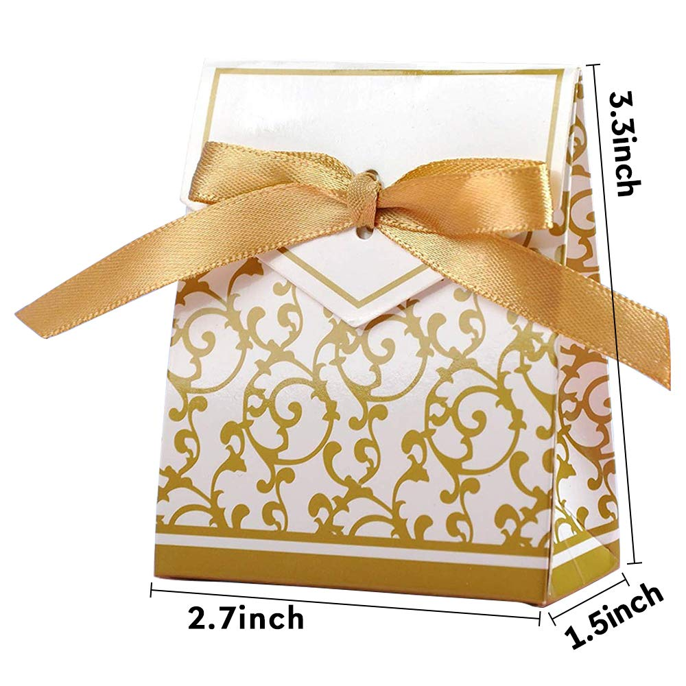 Devbor 50 Pack Pearl White Wedding Favors Gift Boxes,Luster Shine Butterfly Baby Shower Birthday Party Favor Boxes for Treats and Candy Sweets