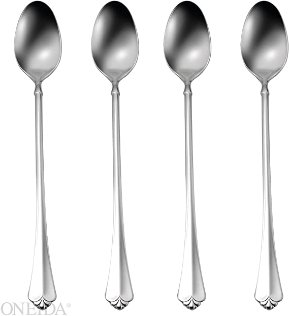 4 RAPHAEL by Oneida Ice Tea Spoons Parfait Distinction Deluxe Stainless Flatware