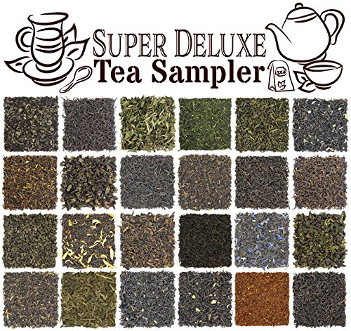 (24-Variety Super Deluxe Loose Leaf Tea Sampler Gift Set w/Green, Black, Oolong, White, Herbal, Pu'er and Flavored Gourmet Teas. Makes 240+ Cups)