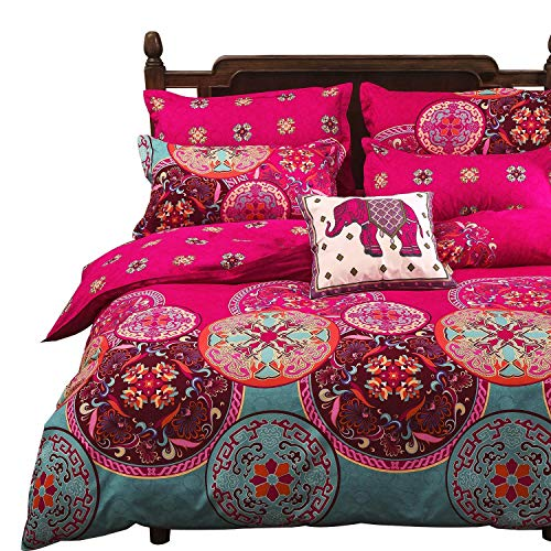 Vaulia Lightweight Microfiber Duvet Cover Set, Bohemia Exotic Patterns Design, Bright Pink - Full/Queen - Pink Bedding Hot