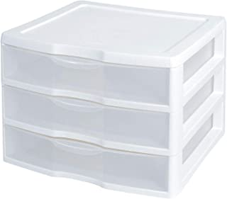 """product image for Sterilite 3-Drawer Organizer - ClearView Wide 2093 (White / Clear) (10.25""""H x 14.5""""W x 14.25""""D)"""