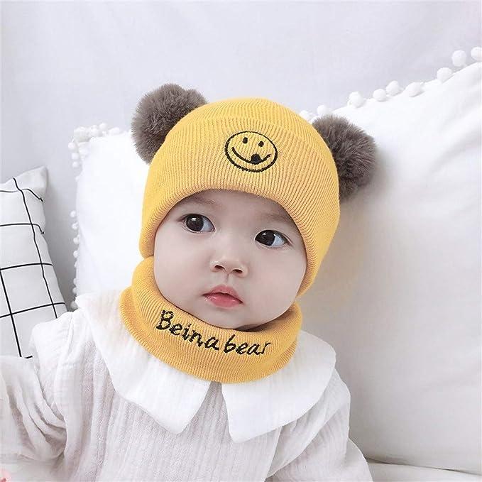 ZZBO Cap Kinder 0-3 Jahre Beanie M/ütze Strickm/ütze Baby Unisex Winterm/ütze Schal Set Soft W/ärme und Bequeme Kappe Cute Kopfbedeckung
