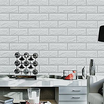Blooming Wall 1022 Prepasted Painted White Brick Stone Peel and stick Wallpaper Décor Self-adhesive Wallpaper Contact Paper