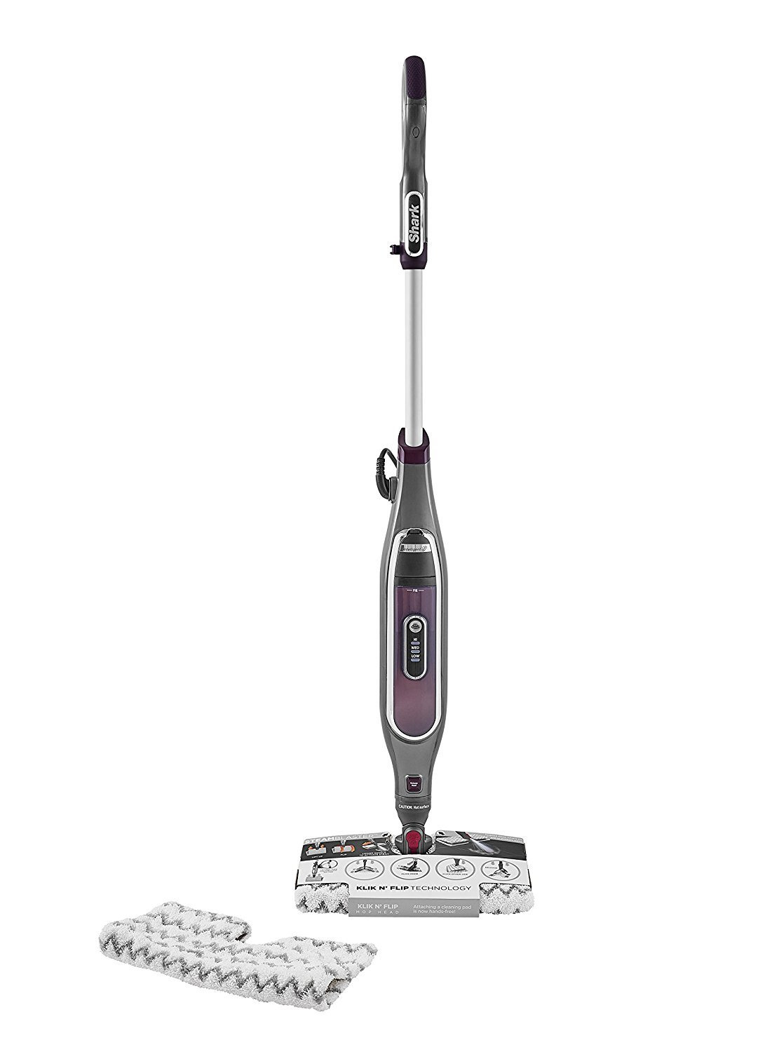 Shark S6003UK Klik n' Flip Smartronic Deluxe Steam Mop, Bordeaux/Steel Grey