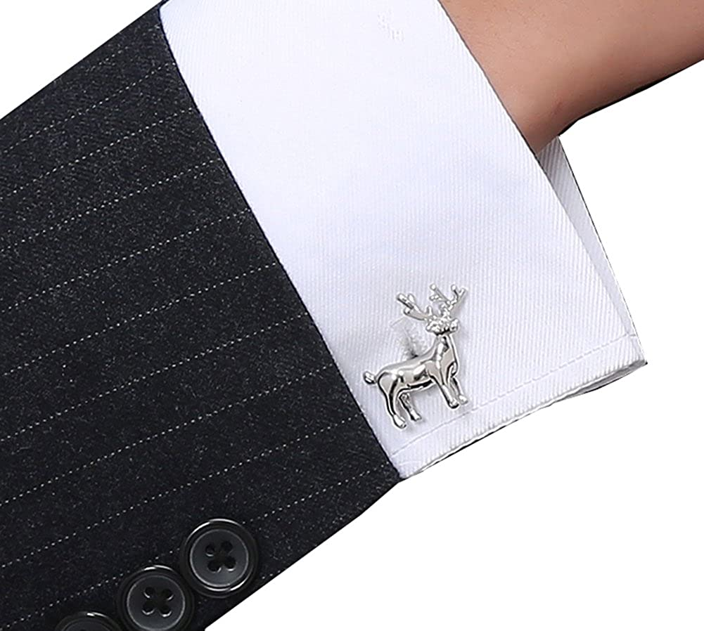 FENGRUIUI Argent Cerf Boutons de manchette pour homme en cuivre Maté riau Cadeau de boutons de manchette cadeaux de Noë l French Animal Bijoux avec boî te cadeau