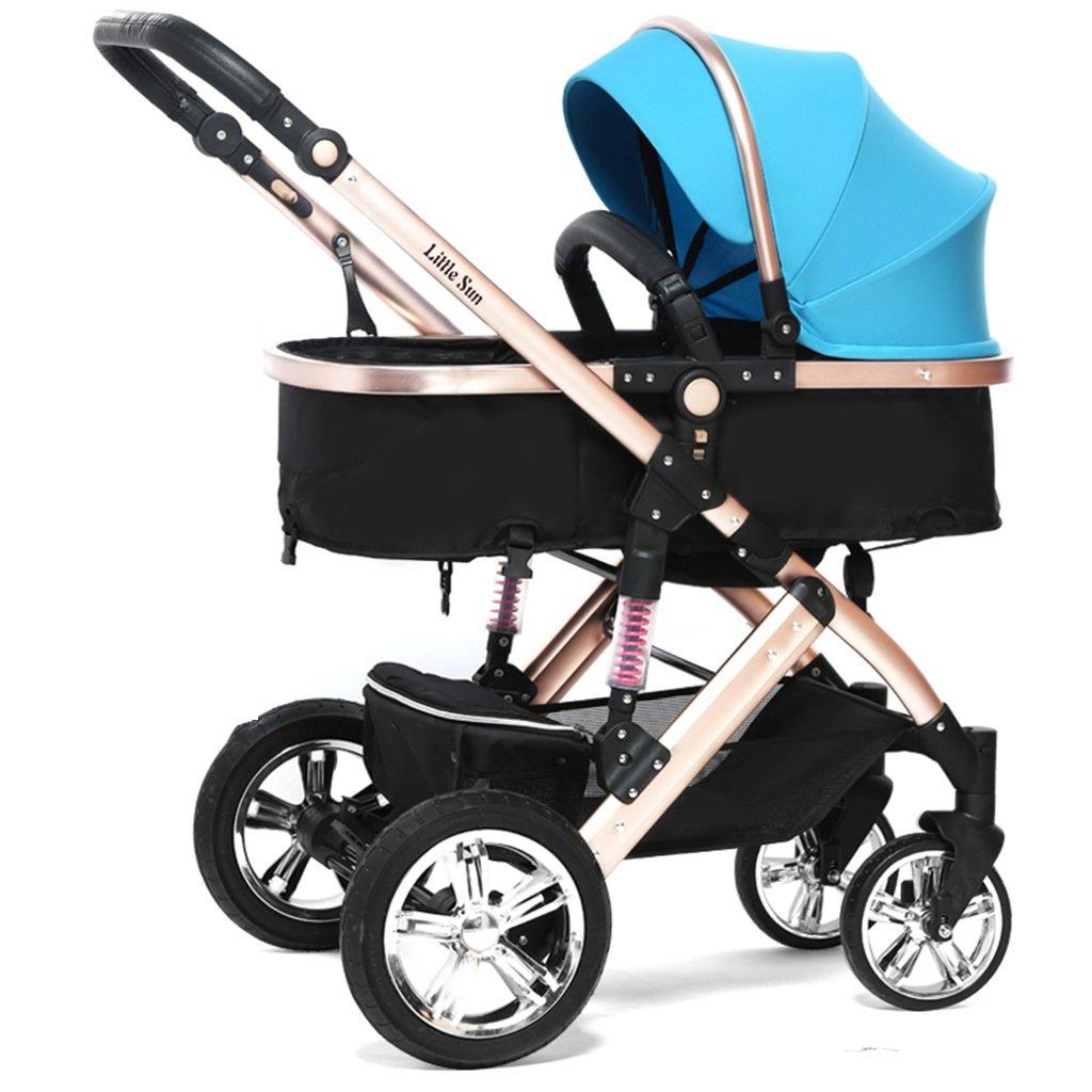 HAIZHEN マウンテンバイク 赤ちゃんキャリッジ青/オレンジ/ピンク/紫/赤座る/軽い折り畳み式トロリーショックアブソーバ調整サンシェード日よけ保護アンチUVオックスフォード布赤ちゃんキャリッジ 新生児 B07DL8J2R3 青 青