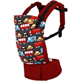 Baby Tula Multi-Position, Ergonomic Baby Carrier, Front and Back Carry for 15 – 45 pounds – Look for Helpers (Red and Dark Gr