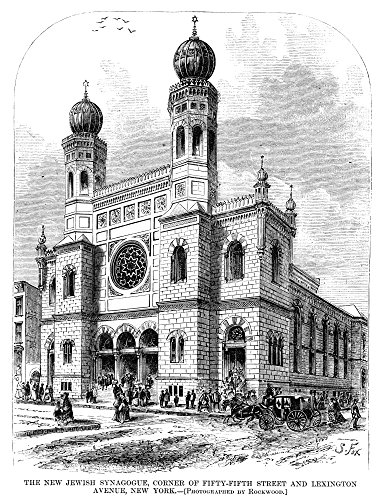 57th Street Manhattan - New York Synagogue 1872 Nthe Jewish Synagogue On The Corner Of 57Th Street And Lexington Avenue In Manhattan New York Wood Engraving American 1872 Poster Print by (18 x 24)
