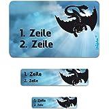 Striefchen® Namensaufkleber für Schule - Drache - 177 Stück in 3 verschiedenen Größen
