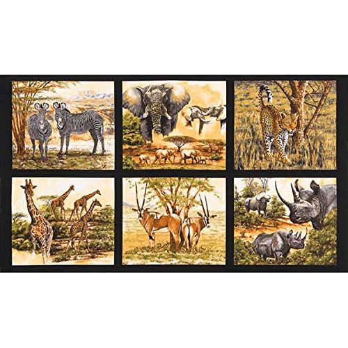 Robert Kaufman Kaufman Nature Studies Wild Animal 24in Block Panel Wild Fabric