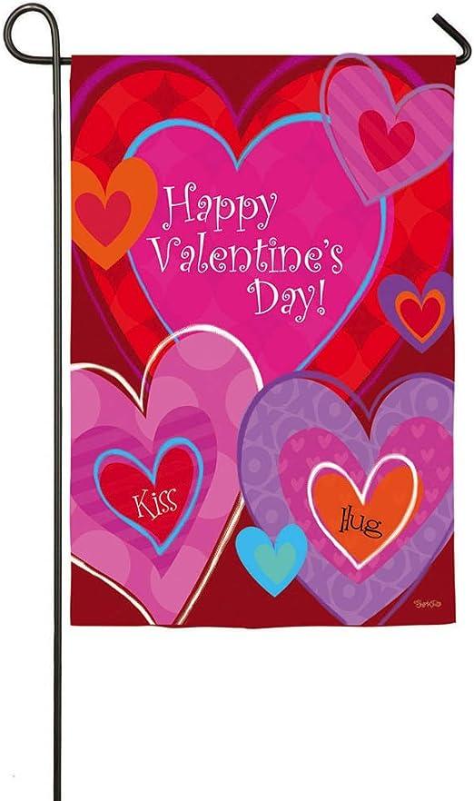 Beso abrazo feliz día de San Valentín bandera de Jardín con soporte de metal: Amazon.es: Jardín