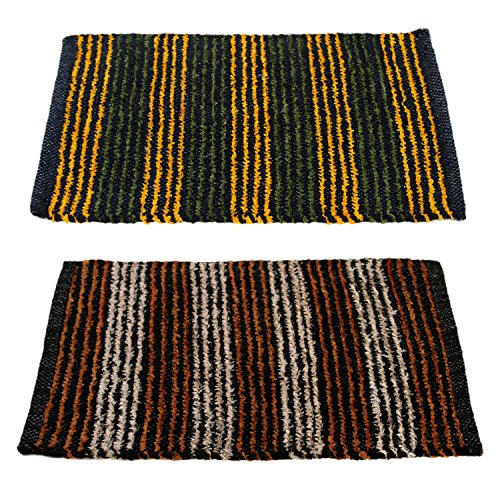 Story@Home Handicraft Style Eco Series 2 Piece Cotton Blend Door Mat Set – 16″x24″, Yellow and Brown