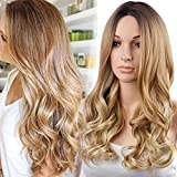 #8: RUISENNA Ombre Blonde Glueless Wigs 2 Tone Color Long Wave Wig Hair 100% Heat Resistant Fiber Synthetic Wig for Women 24
