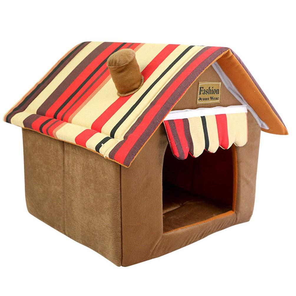 JEELINBORE Práctica Cama para Mascotas, Desmontable Plegable Casetas Casa para Gatos Perros (40 * 40 * 49cm, Marrón): Amazon.es: Productos para mascotas