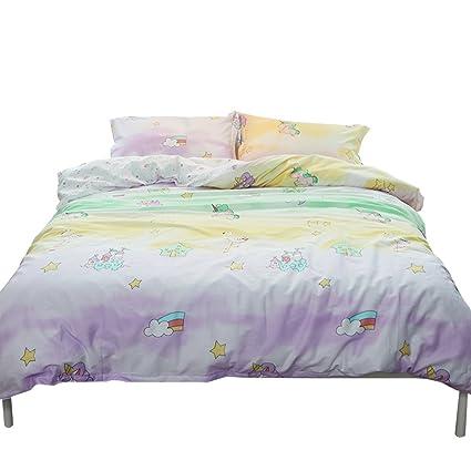 4ddc102d43a7 OTOB New Cartoon Unicorn Twin Duvet Cover Set for Girls 100% Cotton  Reversible Comfortable 3