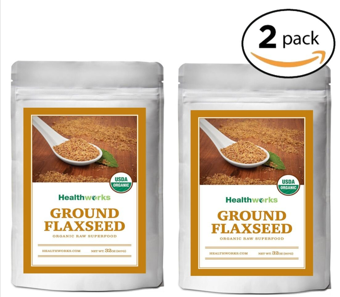 Healthworks Ground Flaxseed Organic Cold-Milled, 4lb (2 2lb Packs)