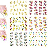 Wrapables Nail Art Water Nail Stickers Water Transfer Stickers / Nail Art Tattoos / Nail Art Decals, Colorful Flowers (6 sheets)