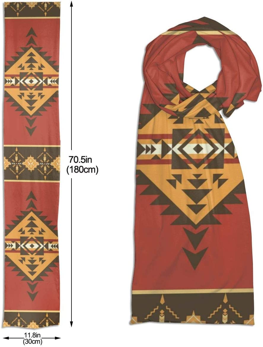 Ethnic Aztec Native American Mens and Womens Scarf Fine Soft Fashion Lightweight Shawl for All Seasons Premium Large Scarf Holiday Scarves,Wraps Cape Warm,Scarves 71 X 11.8 Inch