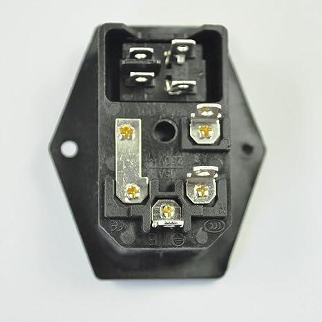 sodial r 3 pin iec320 c14 inlet module plug fuse switch male rh rcro su