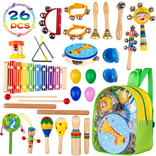 Musical Instruments Toys for Toddlers-17 Types Wooden Percussion Instruments for Kids with Adorable Backpack Storage Bag by Buself (26 PCS)