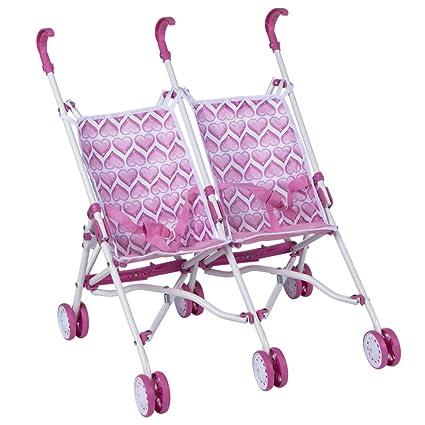 ColorBaby - Sillita de paseo gemelar con pliegue de paraguas, color rosa con corazones (43101)