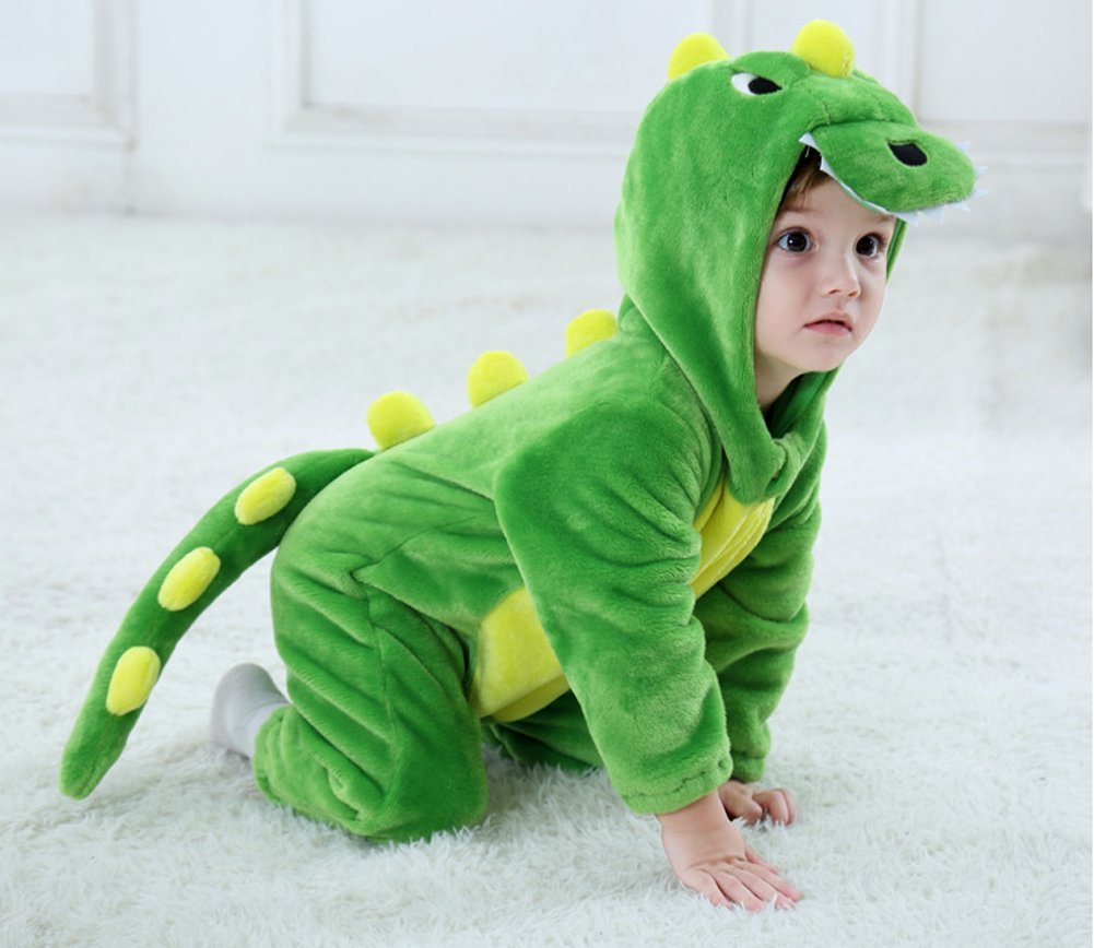 Tonwhar Toddler Infant Tiger Dinosaur Animal Fancy Dress Costume (100(Height:31''-35''/Ages 18-24 Months), Green) by Tonwhar (Image #2)