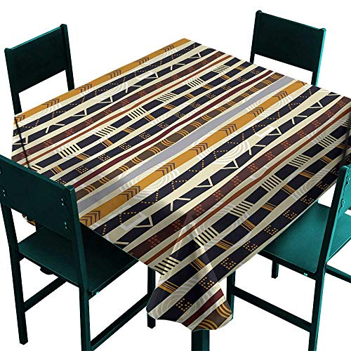 (Warm Family Tribal Easy Care Tablecloth Ethnic African with Trippy Geometric Forms Primitive Heritage Wild Earthen Pattern Indoor Outdoor Camping Picnic W50 x L50 Multicolor)