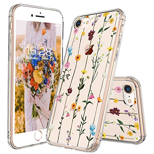 iPhone 8 Case, iPhone 7 Clear Case, MOSNOVO Wildflower Floral Clear Design Printed Plastic Hard Back Case with TPU Bumper Protective Case Cover for Apple iPhone 7 (2016) / iPhone 8 (2017) (4.7 inch)