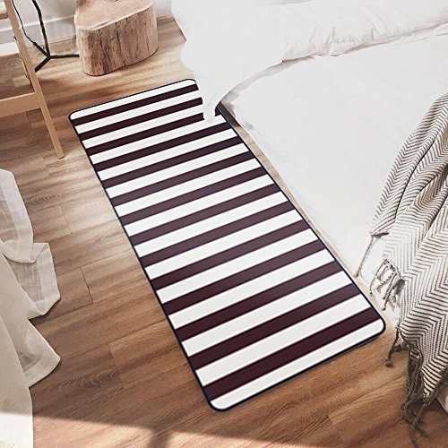 Ustide Black and White Stripe Rugs Washable Non-Slip Rug for Kitchen/ Bathroom/ Entry Way/ Laundry Room/ Living Room ,19.7''x47.2'' by Ustide