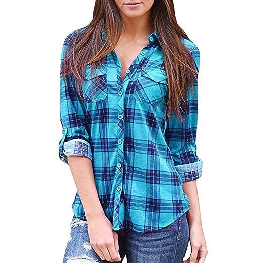 c8919378b Women s Casual Long Sleeve Blouse Plaid Button Down Shirt Daily Work ...
