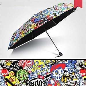 Cute Graffiti Travel Umbrella Manually Foldable Rain Windproof Anti-UV Flower Umbrella for Easy Carrying