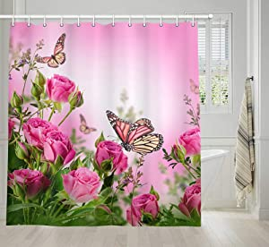 NYMB Pink Floral Shower Curtain, Butterfly and Rustic Farmhouse Flowers Shower Curtain Set, Spring Modern Fabric Shower Curtai with Hooks, 69X70IN