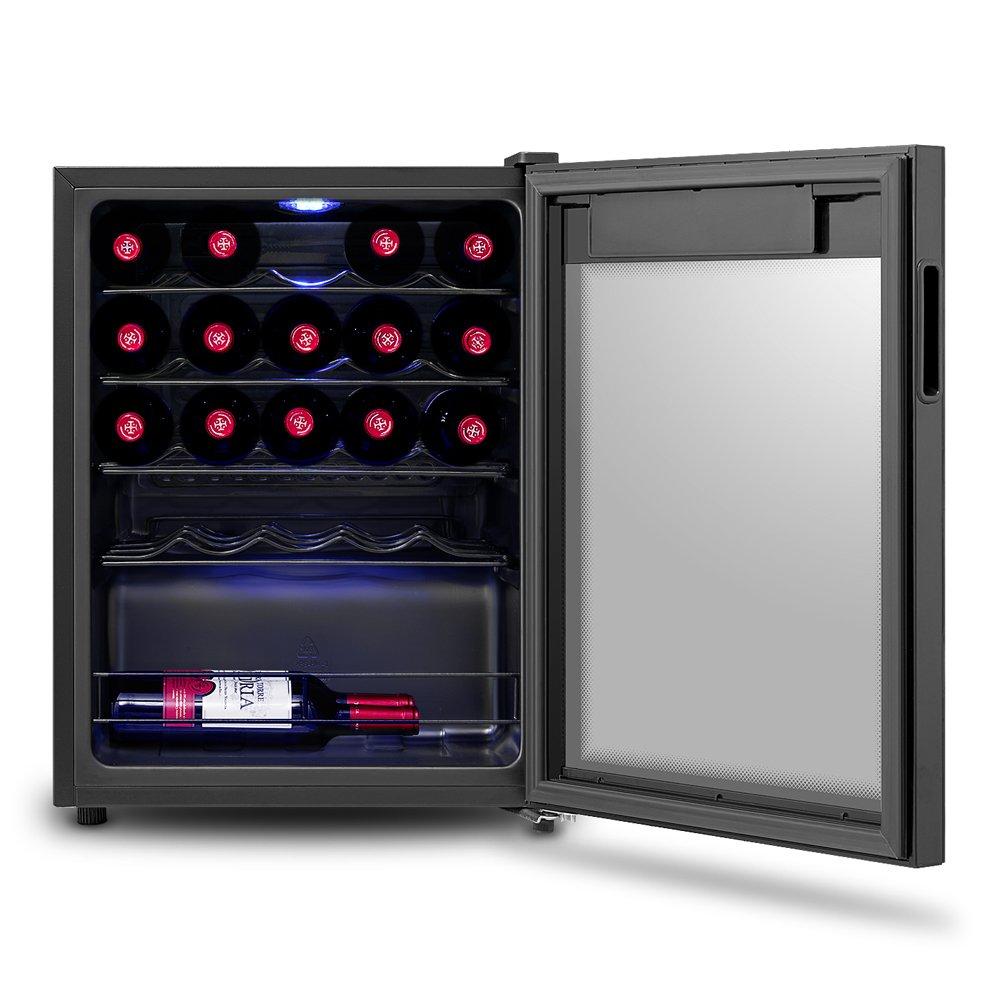/Éclairage Int/érieur LED Bleu peut contenir jusqu/'/à 24 bouteilles de vin de taille standard Porte Vitr/ée Inventor Vino Cave /à Vin R/éfrig/ér/ée 66L