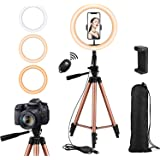 Rimposky 26 cm Ring Light with Tripod Stand and Remote,Selfie Ringlight with Phone Holder for Photography/YouTube/Makeup…