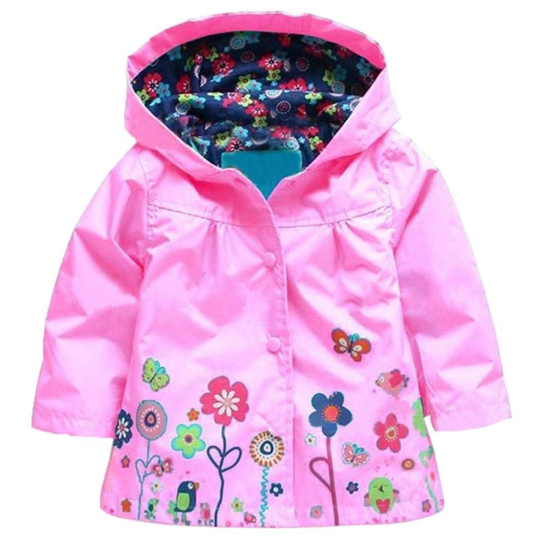Arshiner Girl Baby Kid Waterproof Hooded Coat Jacket Outwear Raincoat Hoodies, Pink, 100 (2-3Y) by Arshiner