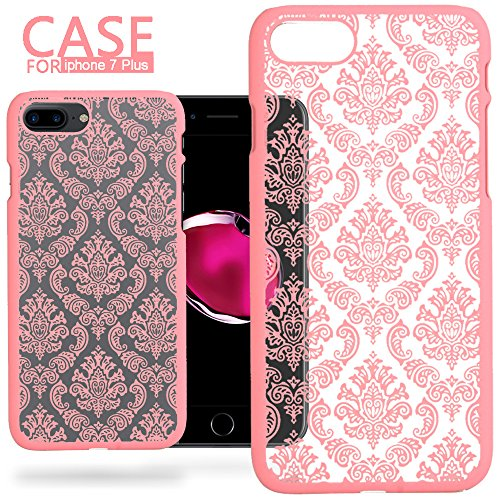 iPhone 7 Plus [5.5''] Case - Anwish Damask Design Pattern Rubber Coating Ultra Slim Fit Hard Hybrid Case Cover for iPhone 7 Plus Fits Hard Rubber