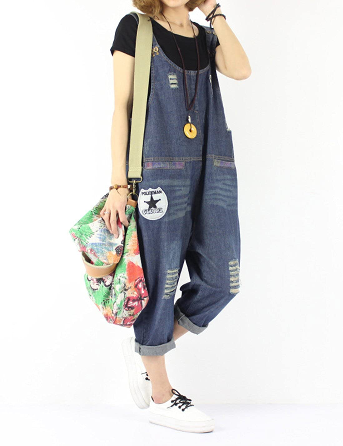 Gihuo Womens Denim Distressed Patches Rompers Low-Crotch Baggy Ripped Jumpsuit Overalls