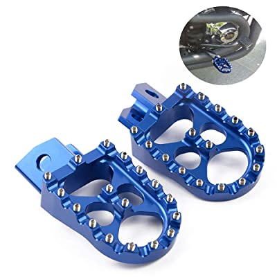 Motor-mh Wide CNC Motorcycle Foot Pegs Footrest for Yamaha PW50 1981-2020, PW80 1983-2020, TTR90 2000-2003, TW200 1987-2020 Blue: Automotive