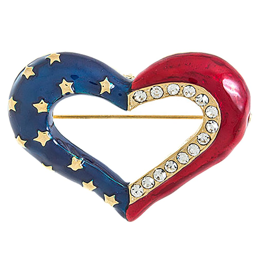 ACCESSORIESFOREVER Patriotic Jewelry Crystal Rhinestone Heart American Flag Brooch Pin BH200 Gold