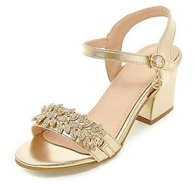 443d711a20d Sfnld Women s Stylish Rhinestone Medium Block Heels Ankle Strap Sandals Gold  4 B(M)