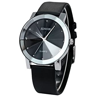 Mance-z Classic Women Round Dial Analog Watches Quartz Watch with Leather Strap (Black