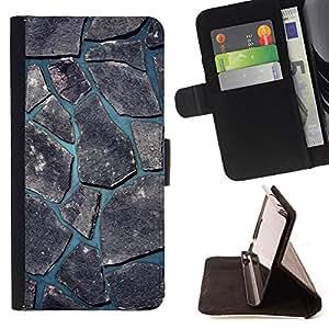 BullDog Case - FOR/Samsung Galaxy S4 Mini i9190 / - / minimalist beautiful nature cobblestone /- Monedero de cuero de la PU Llevar cubierta de la caja con el ID Credit Card Slots Flip funda de cuer