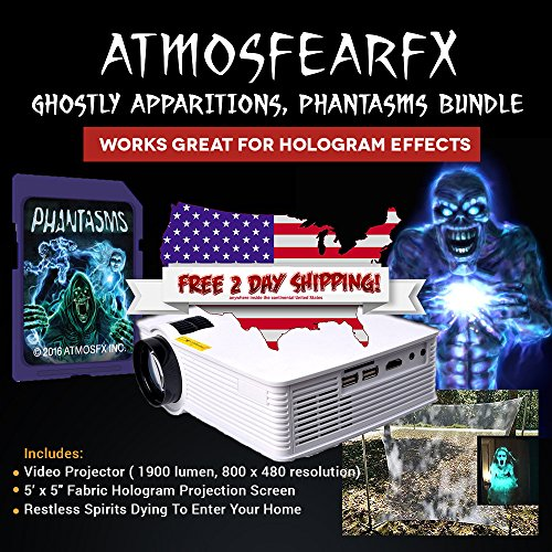 Atmosfearfx Phantasm Video Projector Bundle Includes Atmosfear Fx Halloween Dvd, Window and Hologram Screen -