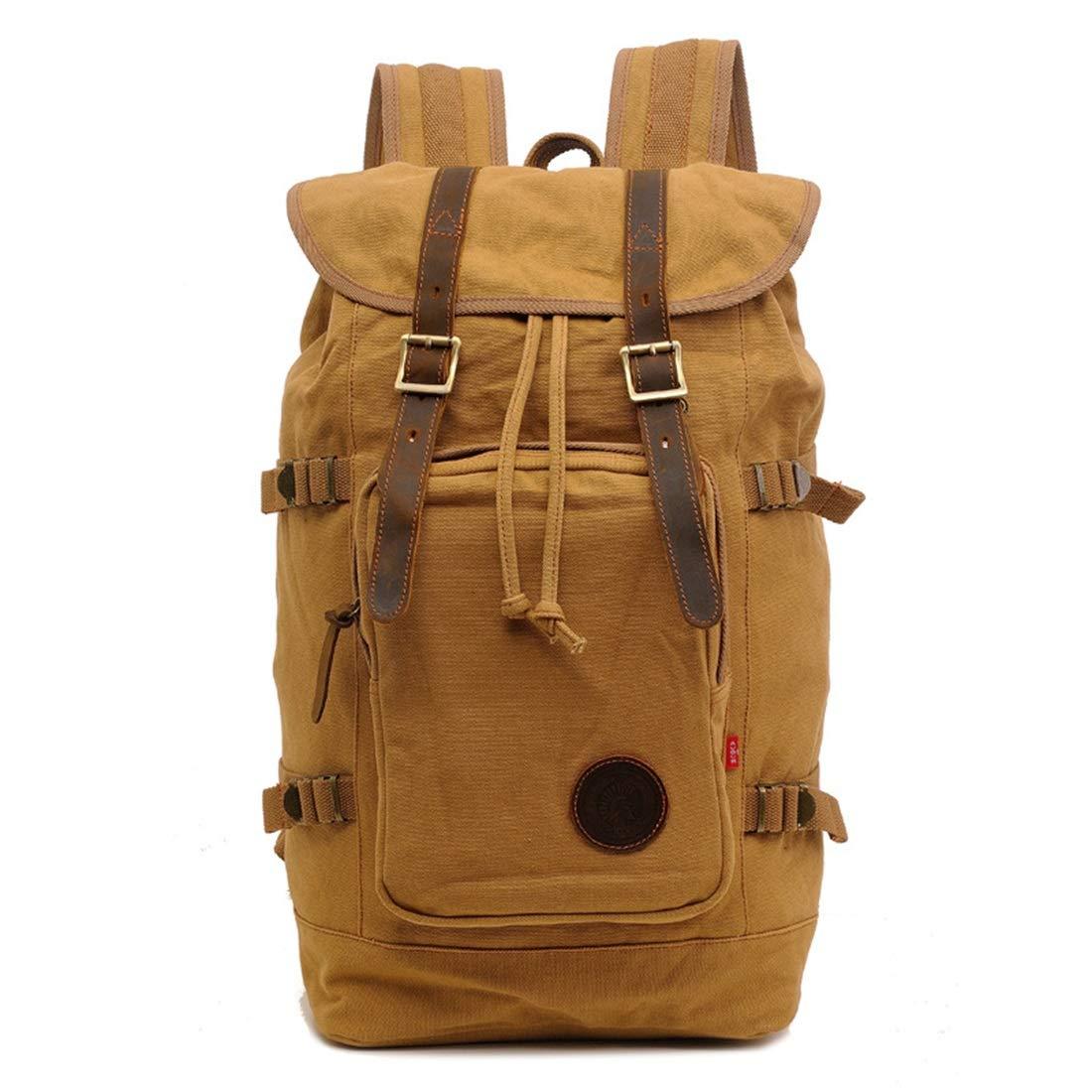 Khaki  HRTX Vintage hommes et femmes sac à dos, sac à dos en cuir décontracté en plein air ordinateur portable sac à dos de voyage sac de randonnée sac de randonnée Shouder sac pour 15,6 pouces