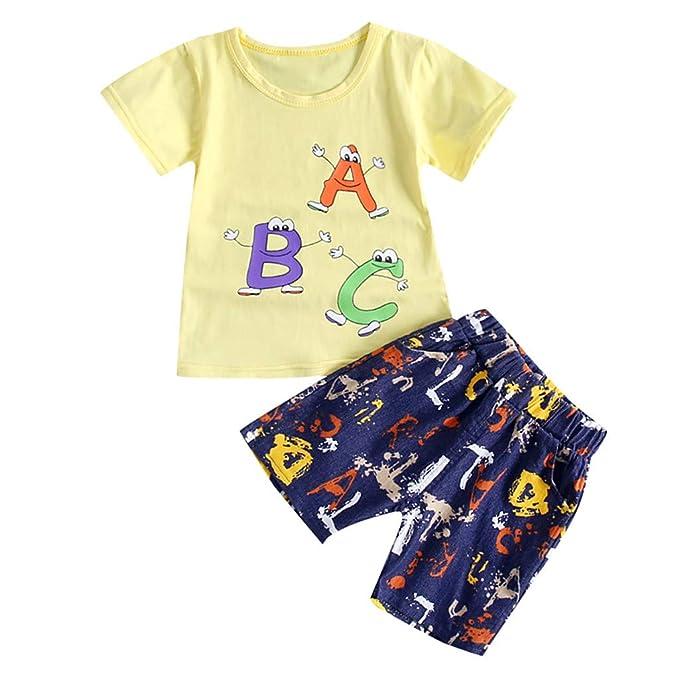 15faef49a Counjunto de Ropa Bebé Niño Verano 2pc Tops de Mangas Corto Cartton Letra  Impresa Camiseta+Pantalones Corta Trajes Conjunto de Ropa para Bebés Niños 0 -3 ...