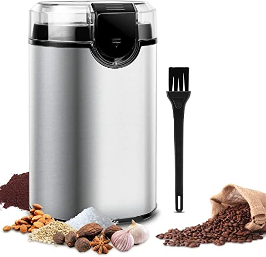 Electric Spice and Coffee 150W Grinder Precision Electric Spice//Coffee Grinder Mill with 304 Stainless Steel Liner//Stainless Steel Blades Capacity 50G for Spices Herbs Nuts Grains