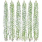 Lvydec 6pcs Artificial Vines Fake Greenery Garland Willow Leaves Total 30 Stems Hanging Wedding Party Home Garden Wall Decoration