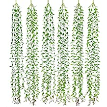 Lvydec 6pcs Artificial Vines Fake Greenery Garland Willow Leaves with Total 30 Stems Hanging for Wedding Party Home Garden Wall Decoration