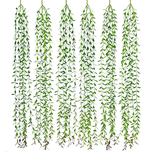 Lvydec 6pcs Artificial Vines Fake Greenery Garland Willow Leaves with Total 30 Stems Hanging for Wedding Party Home Garden Wall Decoration ()