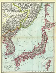 Amazon japan japanese empire including korea sakhalin map japanese empire including korea sakhalin map of formosa taiwan 1907 old map antique map vintage map printed maps of japan gumiabroncs Images